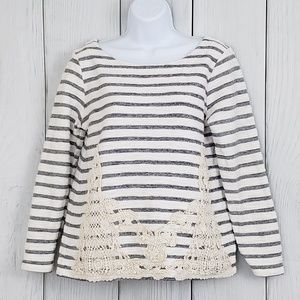 ANTHROPOLOGIE Cupio Med Gray Striped Crochet Top